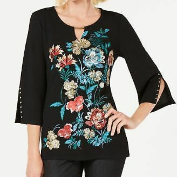JM COLLECTION Floral Printed Flutter Sleeve Lace Up Keyhole Blouse NWT P//L
